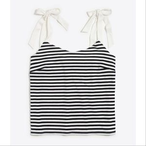 J Crew Stripped Tank Top with Tie Sleeves